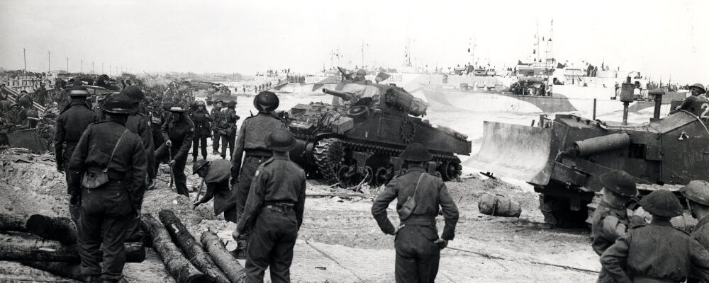 Canadian soldiers and tanks landing at Courseulles-sur-Mer, France, on June 6, 1944