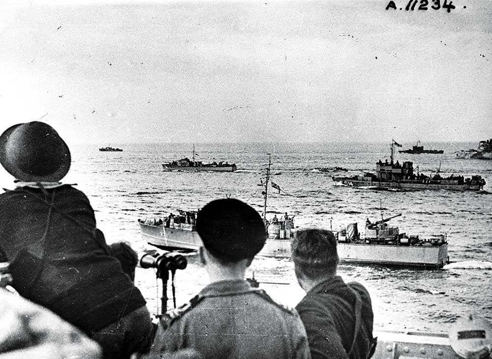 Landing craft en route to Dieppe, France, during Operation Jubilee, 19 August 1942.