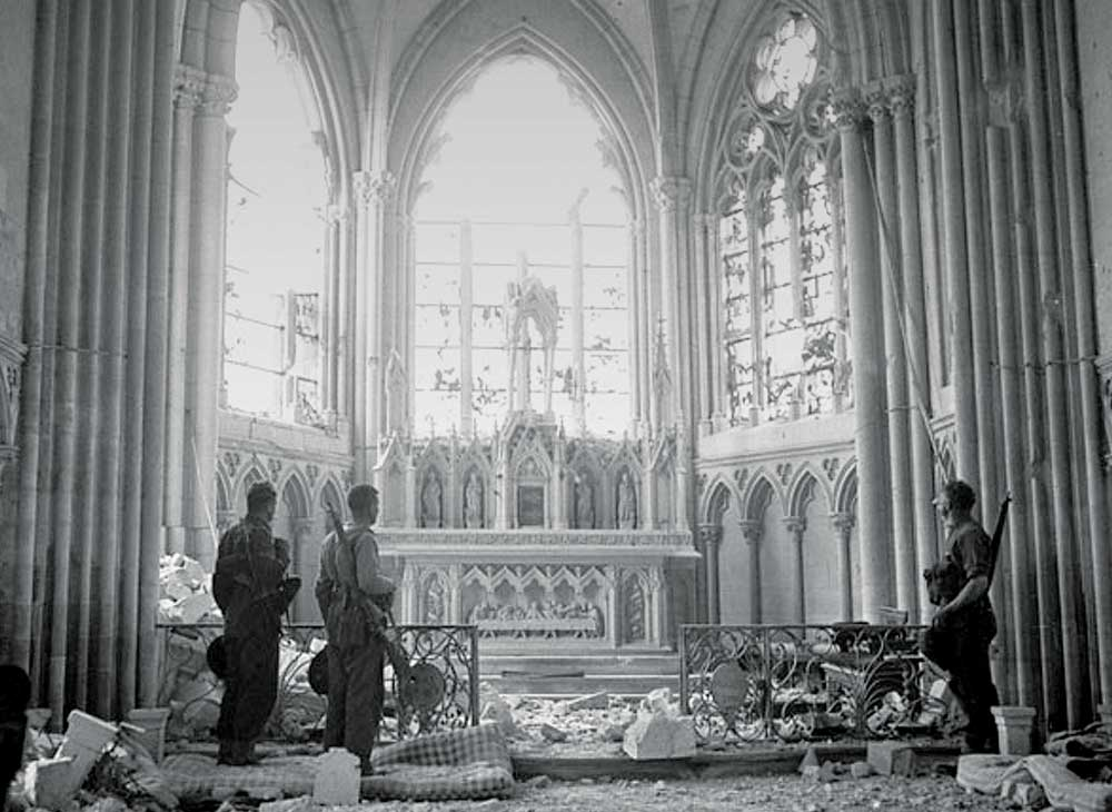 Soldiers inside war-torn Church