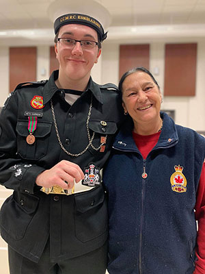 Francine and her grandson who is in Cadets.